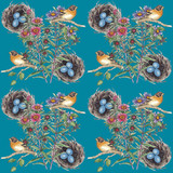 Seamless pattern with bird and nest.