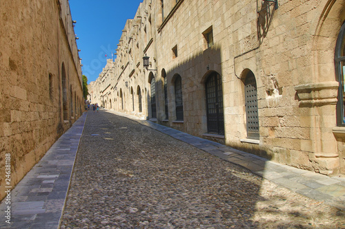 Medieval  street in the town of Rhodes