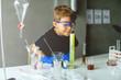 Preschool student in laboratory