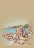 Hut on the sunny coast. Hand drawn illustration. Pastel art