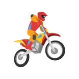 Motorcyclist Driving Motorbike, Motocross Racing Vector Illustration