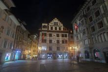 "Постер, картина, фотообои ""Luzern by night, mit bemalter Hausfassade, Luzern, Schweiz"""