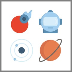 4 astronomy icon. Vector illustration astronomy set. astronaut and comet icons for astronomy works
