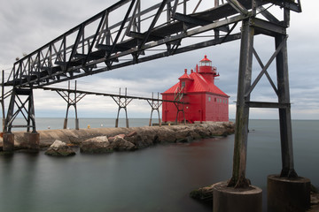 Red Lighthouse on Lake Michigan in Sturgeon Bay, Wisconsin