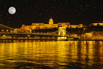 Panorama night Budapes.Capital of Hungary.Beautiful big old town.The photo is made in the dark.The magnificent city is rich in history.City landscape with a wide large river.Beautiful golden city.
