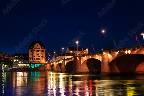 Leinwandbild Motiv Mittlere Brucke across Rhine river at night, Basel
