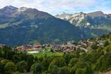 Mountain scenery with Wengen village in Switzerland. - 246420967