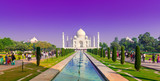 Panoramic view of Taj Mahal with violet sky
