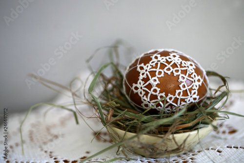 Polish Easter Eggs Decorated With Lace Tatting In A Straw Nest