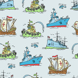 Vector seamless background with boats and ships. Carrack, tugboat, cruiser and corvette.