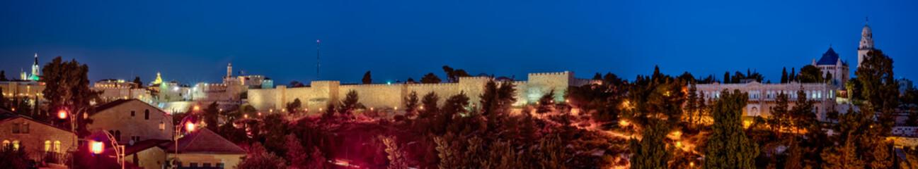 Panorama - Old City at Night, Jerusalem. Illuminated, historic.