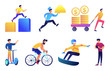 Businessman outdoor activities vector illustrations set. Cycling and snowboarding, segway riding and food delivery, businessman with smartphone. Vector illustrations set isolated on white background.