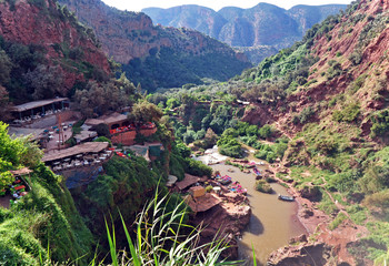 Restaurant on a rock over the valley of the Cascade D Ouzoud waterfall. Morocco. UNESCO.