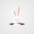 Happy Easter. Easter Rabbit bunny looking from a hole isolated. Cute, funny cartoon rabbits character pops out of the hole. Festive design element. Concept for greeting card, invitation. - 246477184