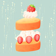 Abstract strawberry cake isolated vector - 246478158