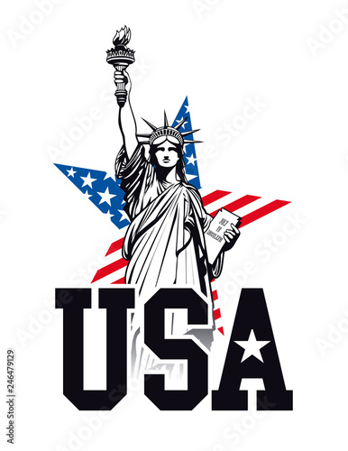 Statue of Liberty, USA. Vector - 246479129