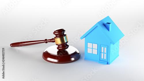 Leinwandbild Motiv Blue house with judge gavel. 3D Rendering