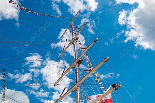 Sail on the mast of the ship