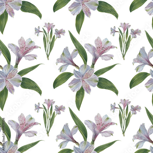 Seamless floral pattern with Alstroemeria, watercolor © Sergei