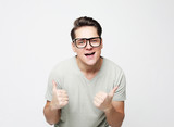 lifestyle, emotion and people concept: young man with expression emotion - 246489518