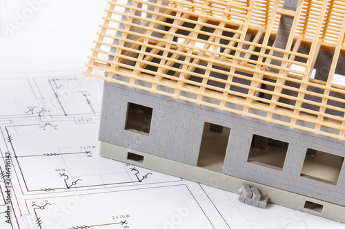 Electrical drawings and diagrams for project and house under construction, building home concept