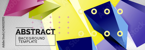 Bright colorful triangular poly 3d composition, abstract geometric background, minimal design, polygonal futuristic poster template - 246502993