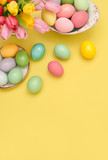 Easter eggs decoration colorful tulip flowers