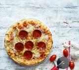 Homemade Pepperoni Pizza, Overhead view