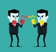 Two businessman with boxing gloves ready to fight. Business rivalry, competition concept. Flat style vector illustration