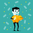 Cheerful businessman holds piggy bank and stands under money rain. Success, wealthy, profitable deposit concept. Flat style vector illustration