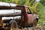 The car carrying the timber that has been arrested and Parked until it crashed, rusted up by the old age