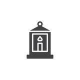 Lantern with candle vector icon. filled flat sign for mobile concept and web design. Candle lantern simple solid icon. Symbol, logo illustration. Pixel perfect vector graphics - 246538143
