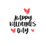 Happy valentines day concept holiday typography poster with hand drawn text heart shape isolated on white background