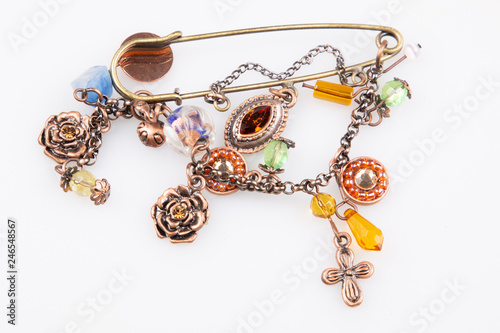 handman fashionable colorful brooch bracelet © sylv1rob1