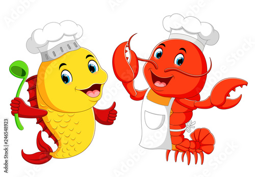 Cute lobster chef and fish chef cartoon - 246548923