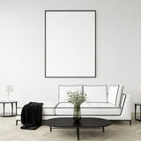 Mock up poster frame in home interior background, Modern style living room, 3D render - 246558176