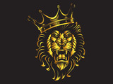 Lion angry face gold tattoo. Vector illustration of lion head. Safari print. - 246568987