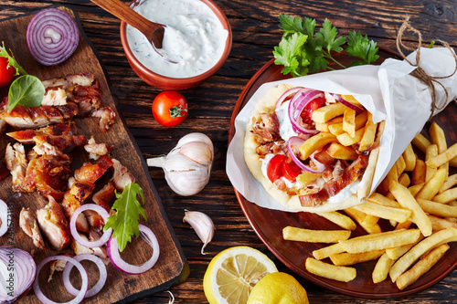 greek souvlaki, pita ma gyros, top view - 246573113