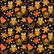 Seamless baby pattern with cute owls ahd flowers in magic forest. Vector bright illustration for kids. Seamless childrens background for wallpapers or textile. - 246591535