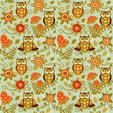 Seamless baby pattern with cute owls ahd flowers in magic forest. Vector bright illustration for kids. Seamless childrens background for wallpapers or textile.