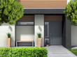 Leinwandbild Motiv 3D rendering und composite Bild eines modernen Hauseingangs für ein Einfamilienhaus mit Vorgarten
