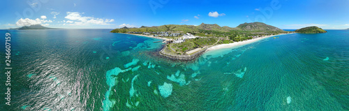 Aerial panoramic view of Christopher Harbor and the Caribbean Sea, Saint Kitts, near the Park Hyatt hotel and Reggae Beach - 246607159