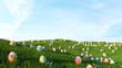 Leinwandbild Motiv Bunte Ostereier auf Wiese als Hintergrund Header