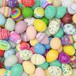 Leinwanddruck Bild - Viele bunte Ostereier zu Ostern von oben