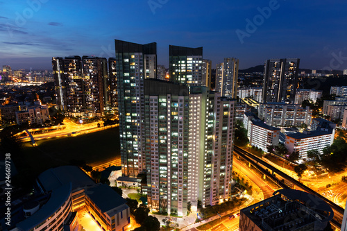 Singapore housing estate cityscape during blue hour in Singapore