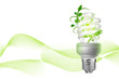 eco lamp with green leaves on white background