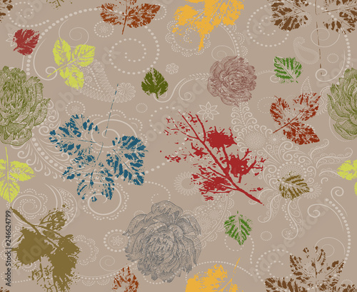Seamless flowers pattern and leaves paisley  background - 246624799