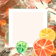 Watercolor invitation, composition, greeting card from orange pattern, tangerine, citrus slices,lime, branch, lemon branch, leaf, splash of paint. Stylish detail, hand-drawn. Abstract splash. - 246624961