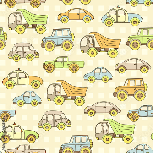 fototapeta na ścianę Seamless baby pattern with cute cars. Vector bright illustration for kids. Seamless childrens background for wallpapers or textile.
