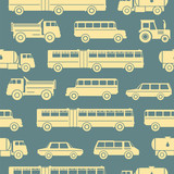 Seamless baby pattern with cute cars. Vector bright illustration for kids. Seamless childrens background for wallpapers or textile.